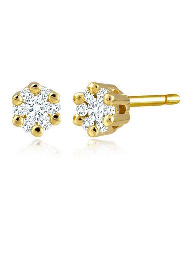 Diamond Line Gold-Ohrstecker mit Diamant-Besatz