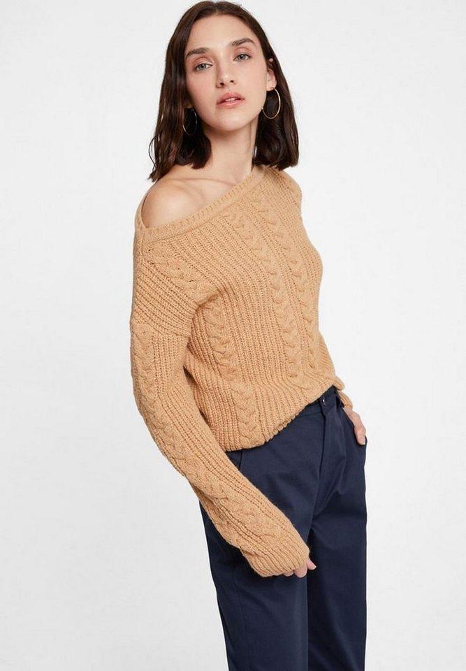 OXXO Carmenpullover mit Zopf Musterung | Bekleidung > Pullover > Carmenpullover | Braun | OXXO