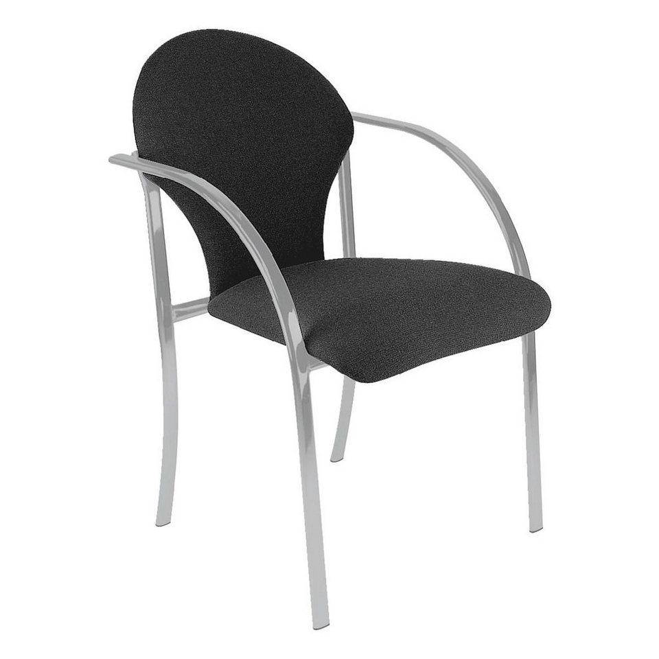 Nowy Styl 2er-Set Besucherstühle »Visa alu« in schwarz