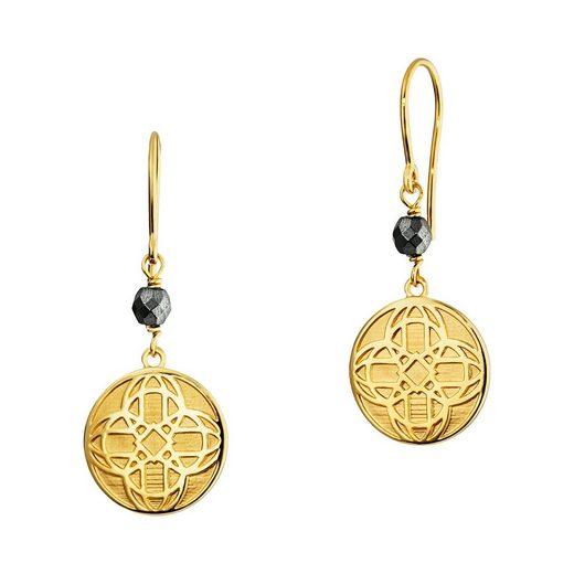 CAÏ Ohrhänger »925/- Sterling Silber vergoldet Hämatit«