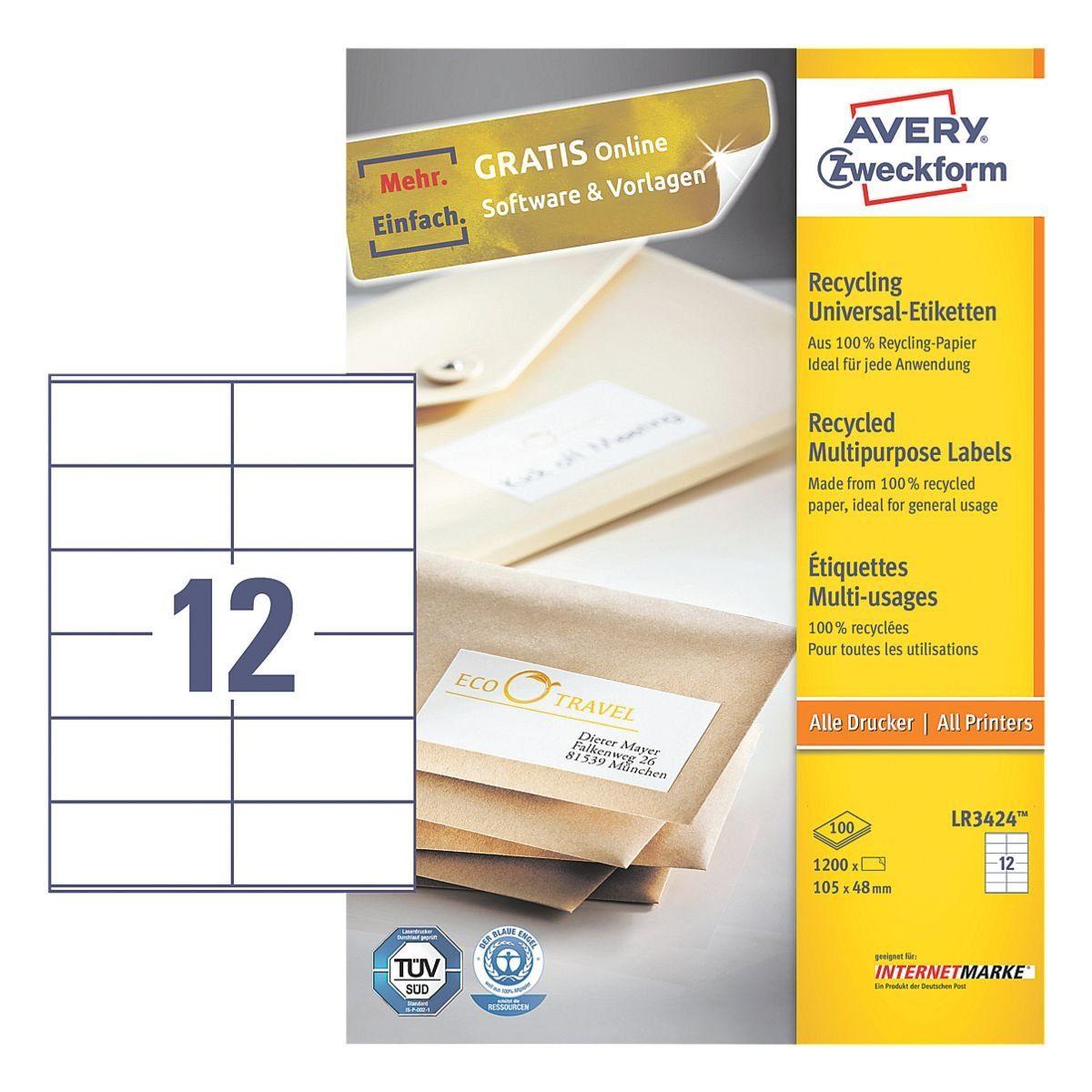 Avery Zweckform 1200er-Pack Universal Klebeetiketten »LR3424«