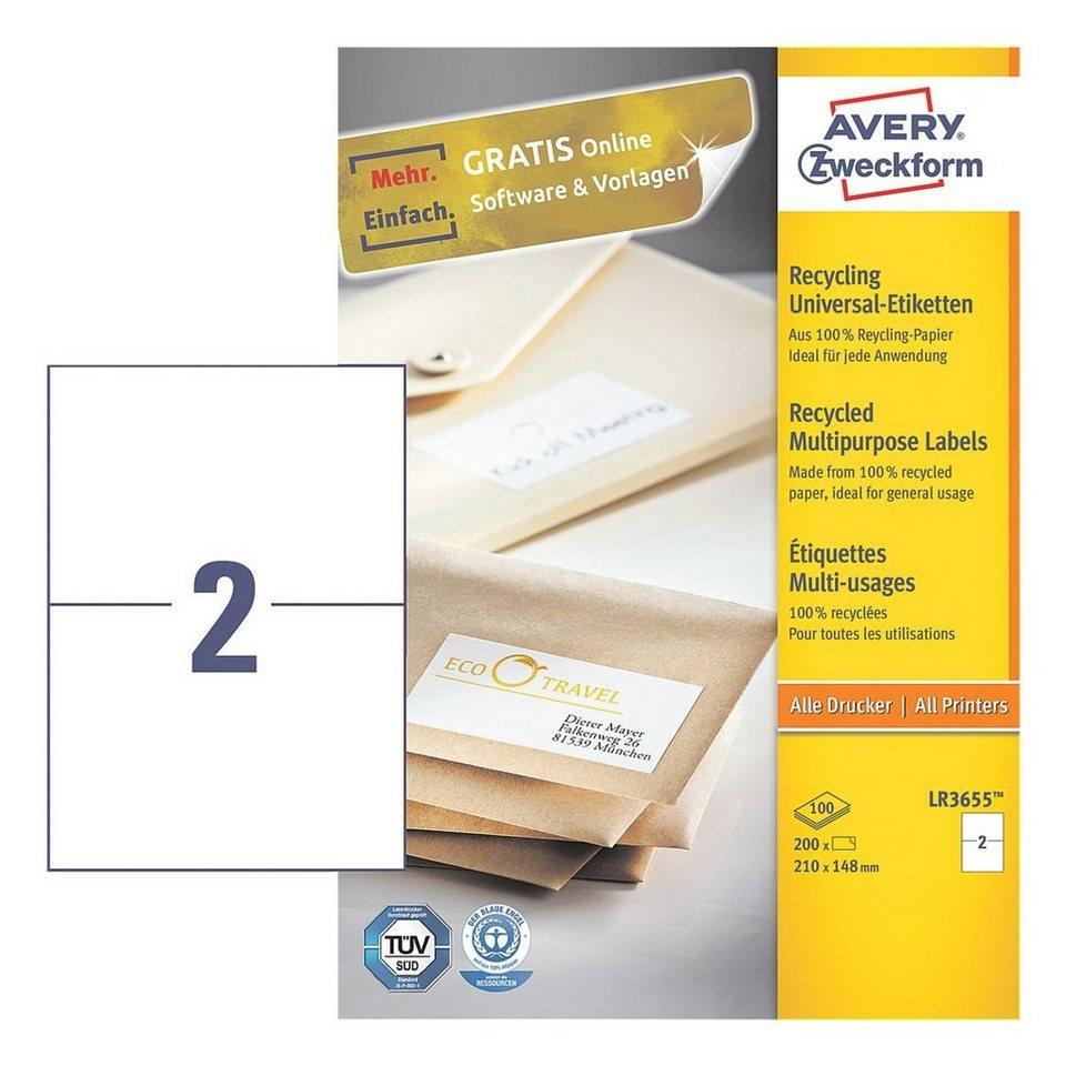 Avery Zweckform 200er-Pack Universal Klebeetiketten »LR3655«