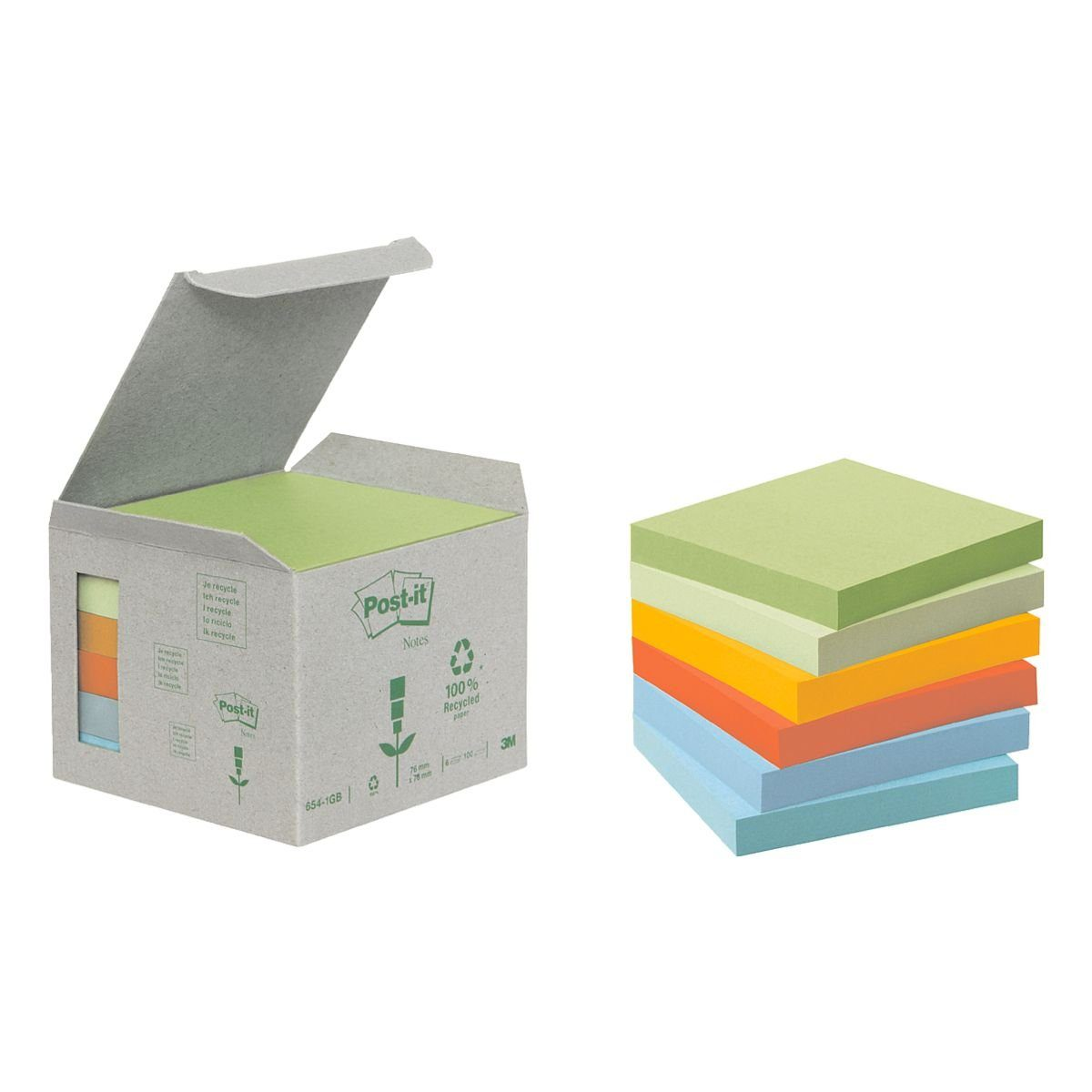 Post-it Notes (Recycle) Haftnotizblock 7,6 x 7,6 cm, 6 Stück »Recycling Notes 654«
