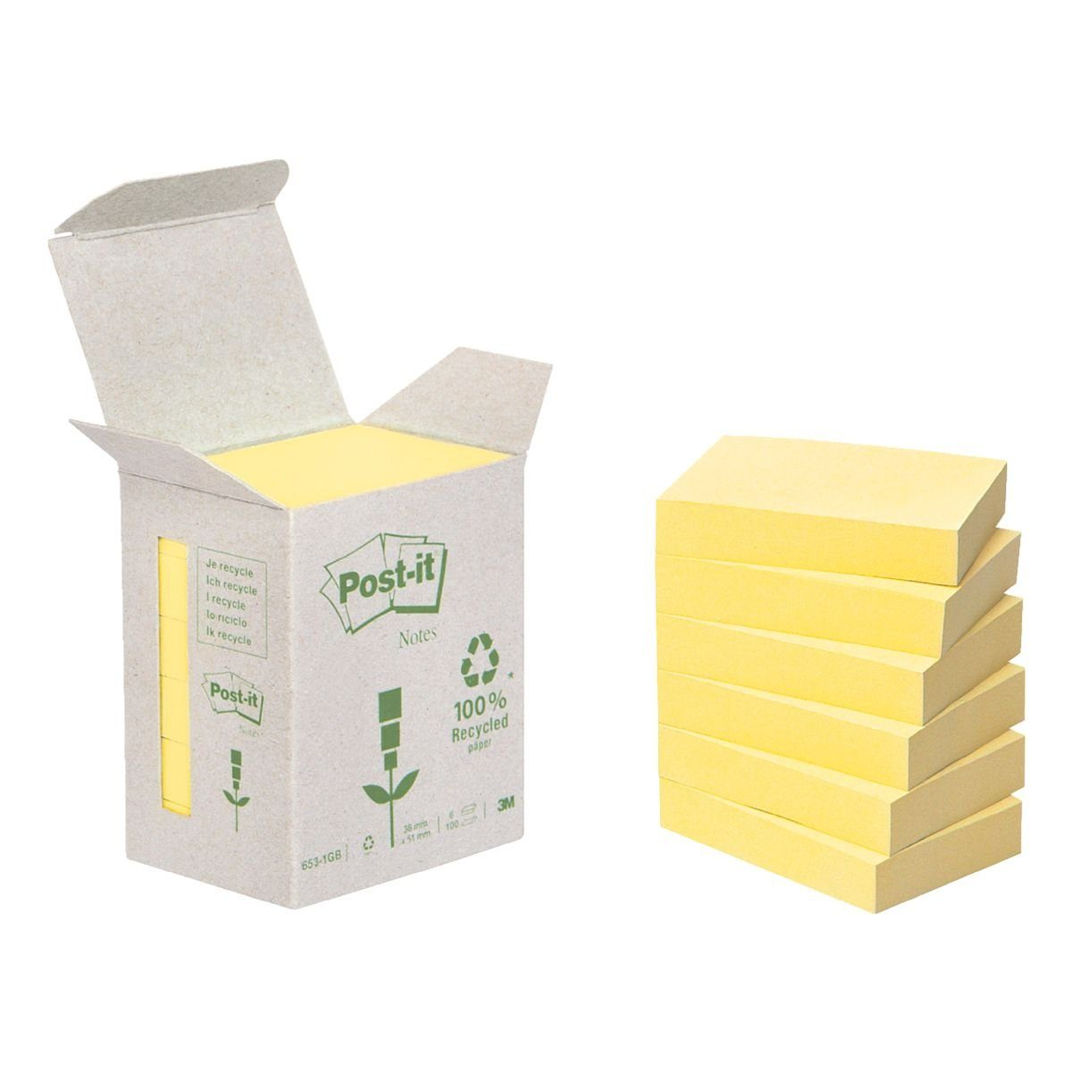 Post-it Notes (Recycle) Haftnotizblock 5,1 x 3,8 cm, 6 Stück »Recycling Notes 653«