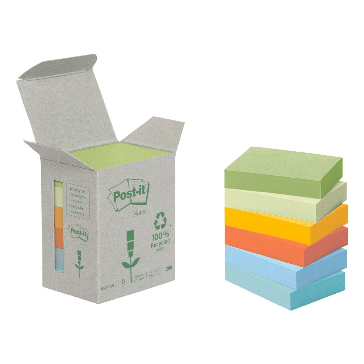 Post-it Notes (Recycle) 6er-Pack Haftnotizblöcke »Recycling Notes 653«