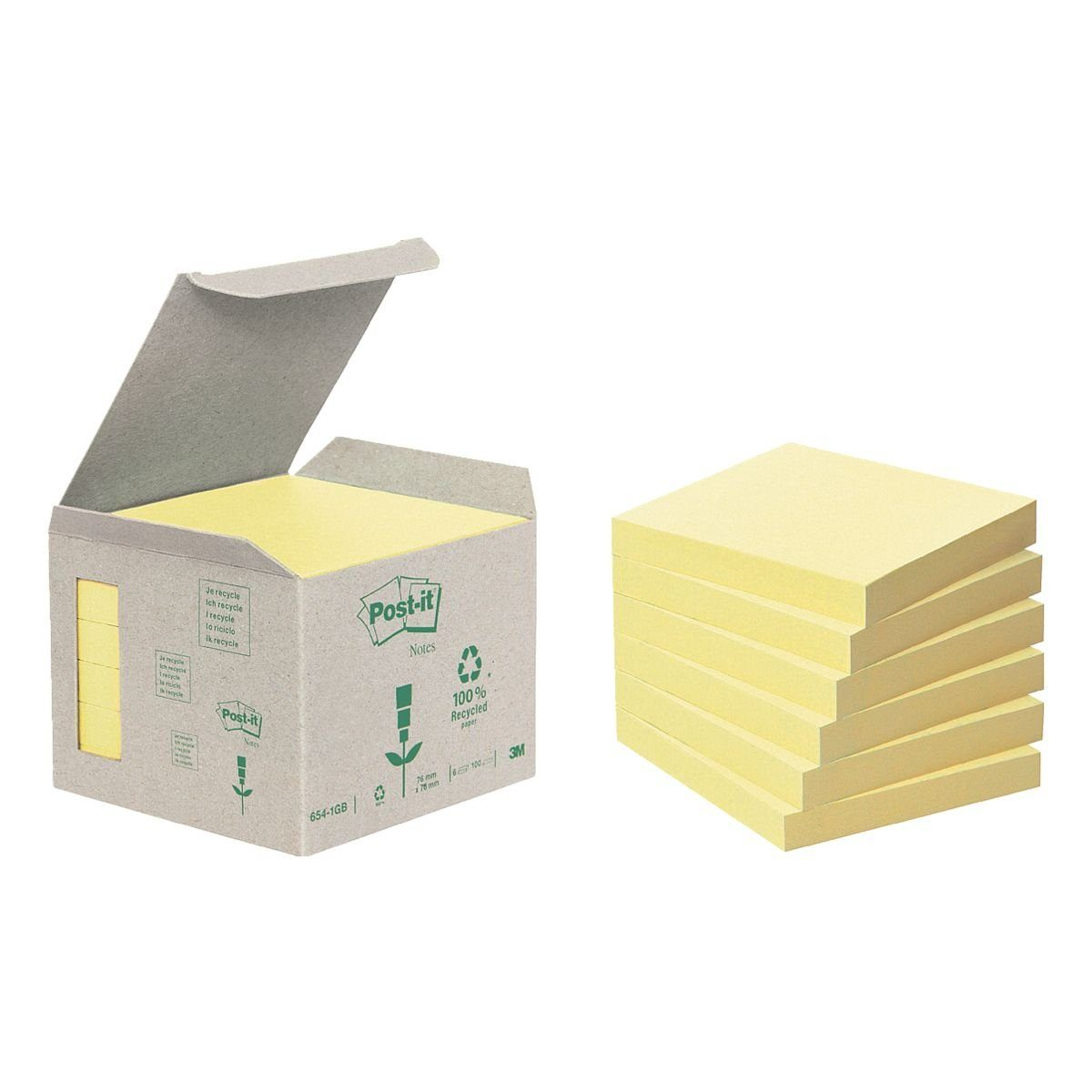 POSTITNOTESRECYCLE 6er-Pack Haftnotizblöcke »Recycling Notes 654«