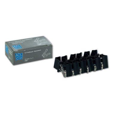 ALCO Foldback-Klammern 15mm, schwarz, 12 Stück