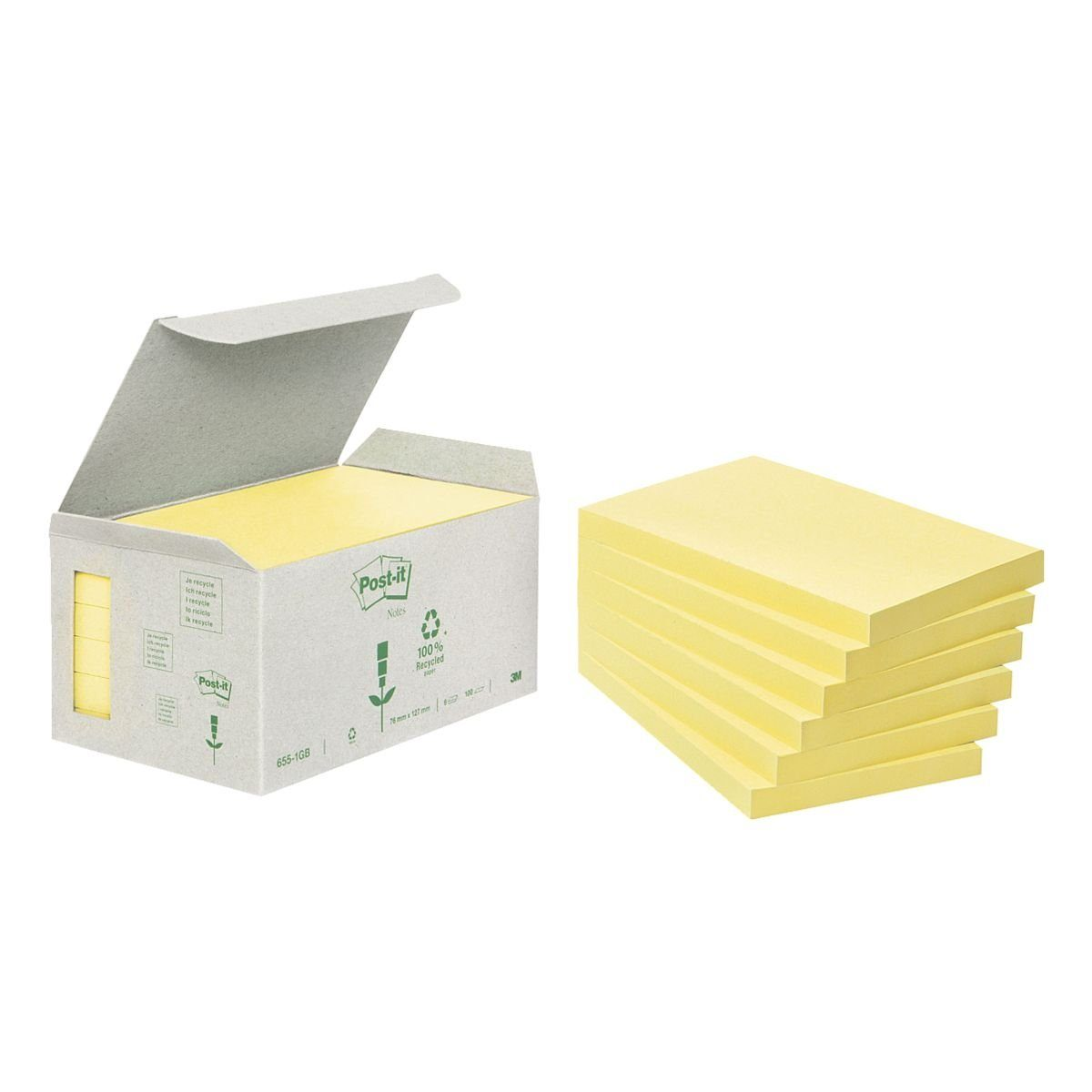 Post-it Notes (Recycle) Haftnotizblock 12,7 x 7,6 cm, 6 Stück »Recycling Notes 655«
