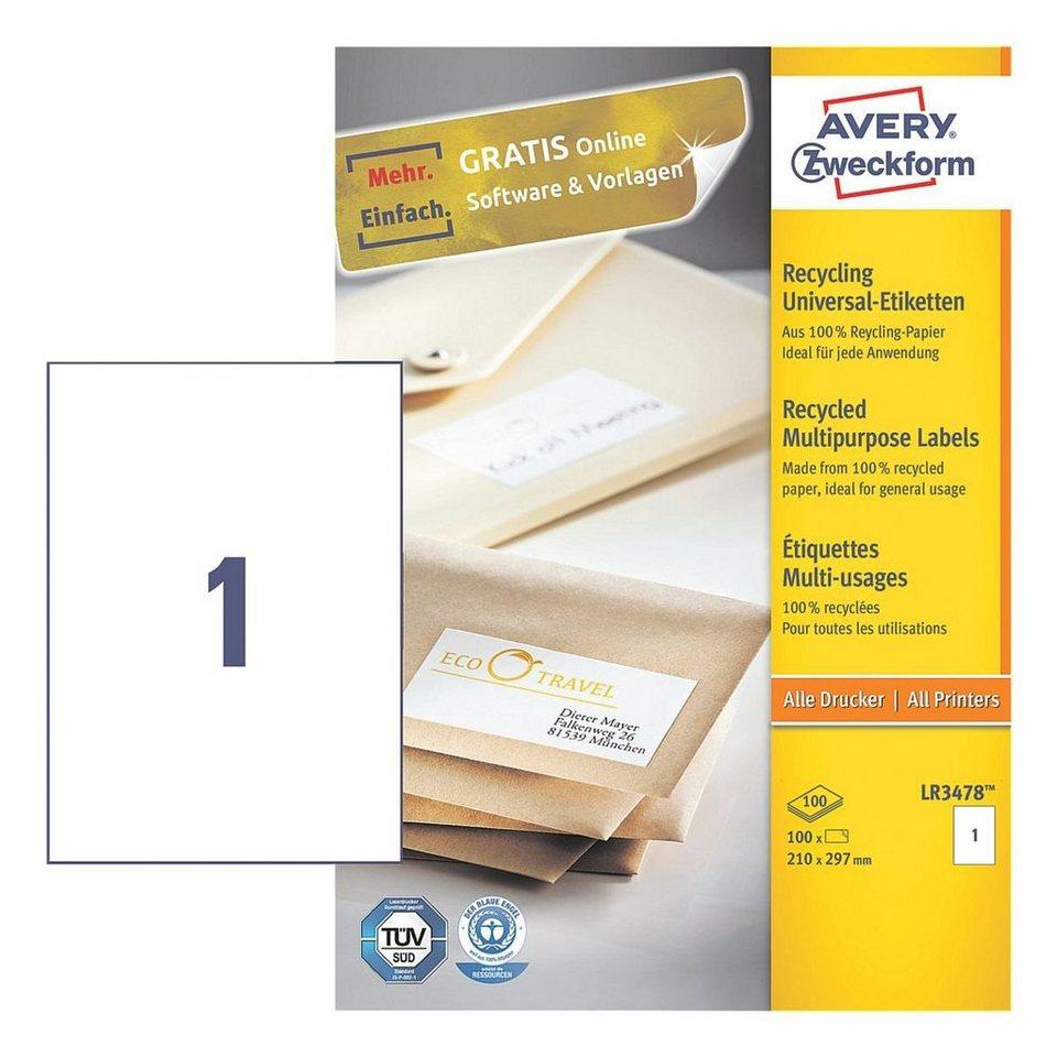 Avery Zweckform 100er-Pack Universal Klebeetiketten »LR3478«