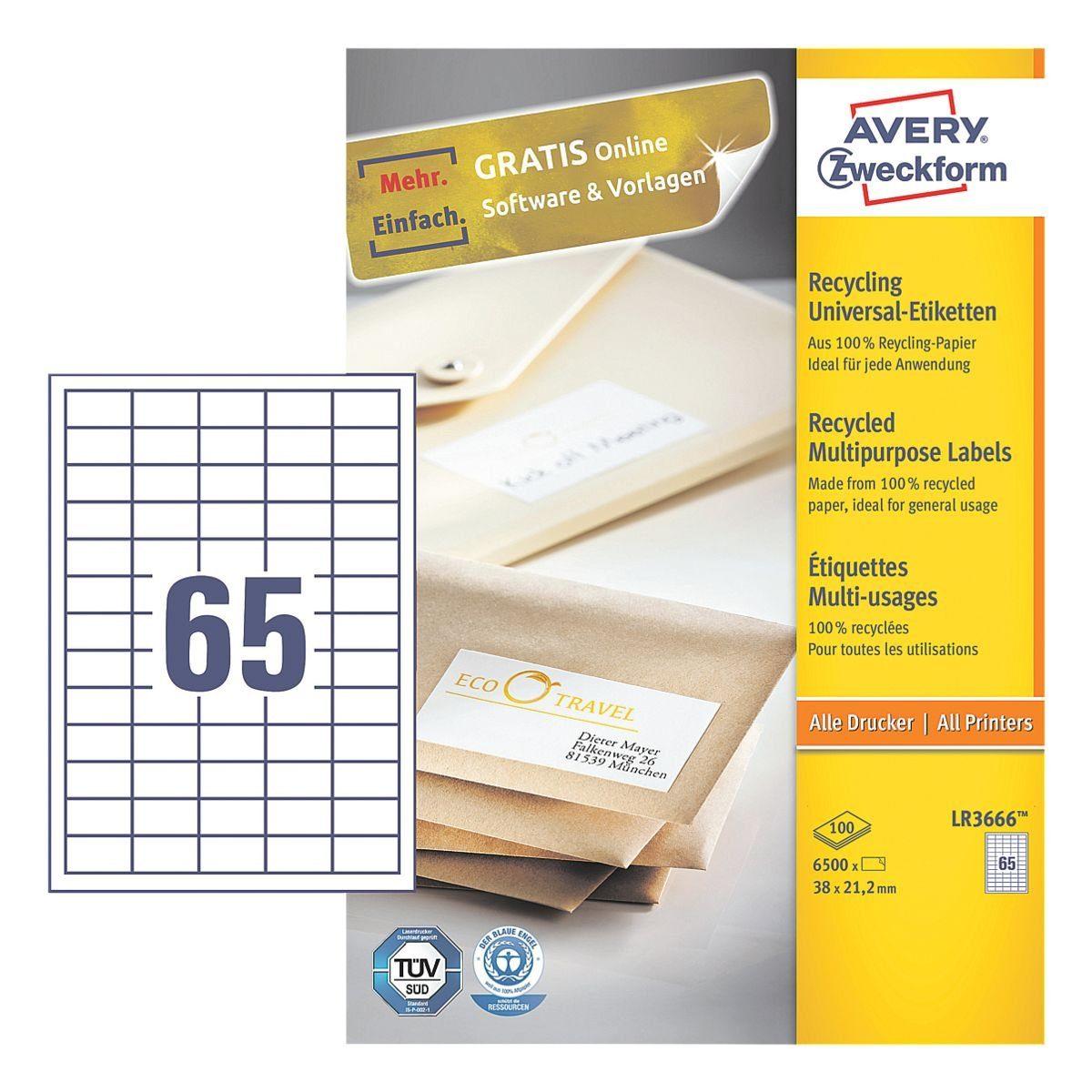 ZWECKFORMAVERY 6500er-Pack Universal Klebeetiketten »LR3666«