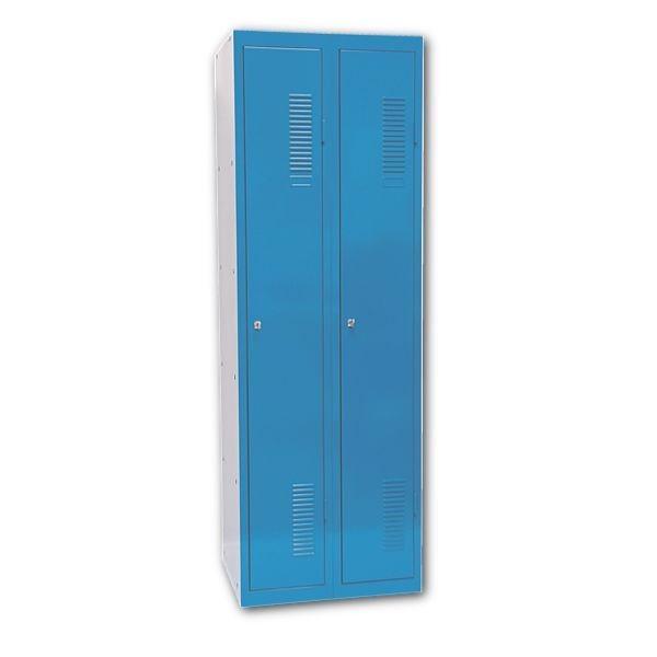 Garderobenschrank in lichtgrau/blau