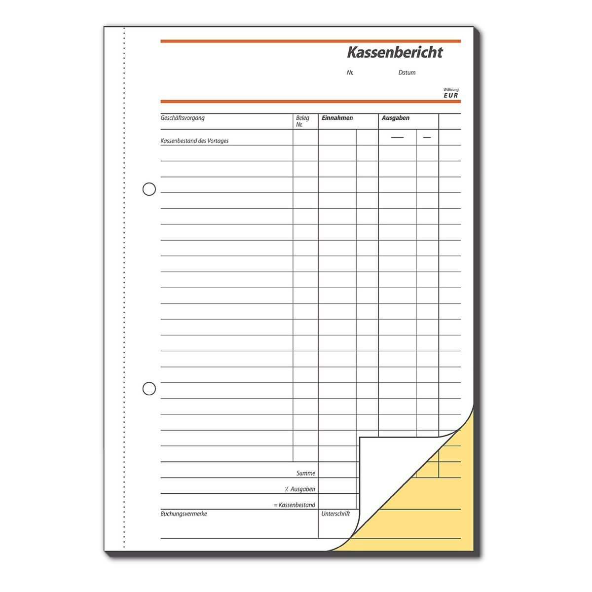 Sigel Formularbuch »Kassenbericht/Bestandsrechnung«