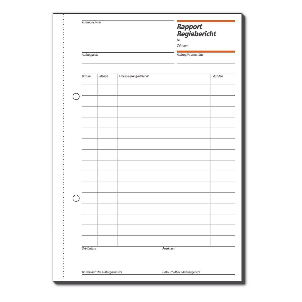 Sigel Formularbuch »Rapport/Regiebericht«