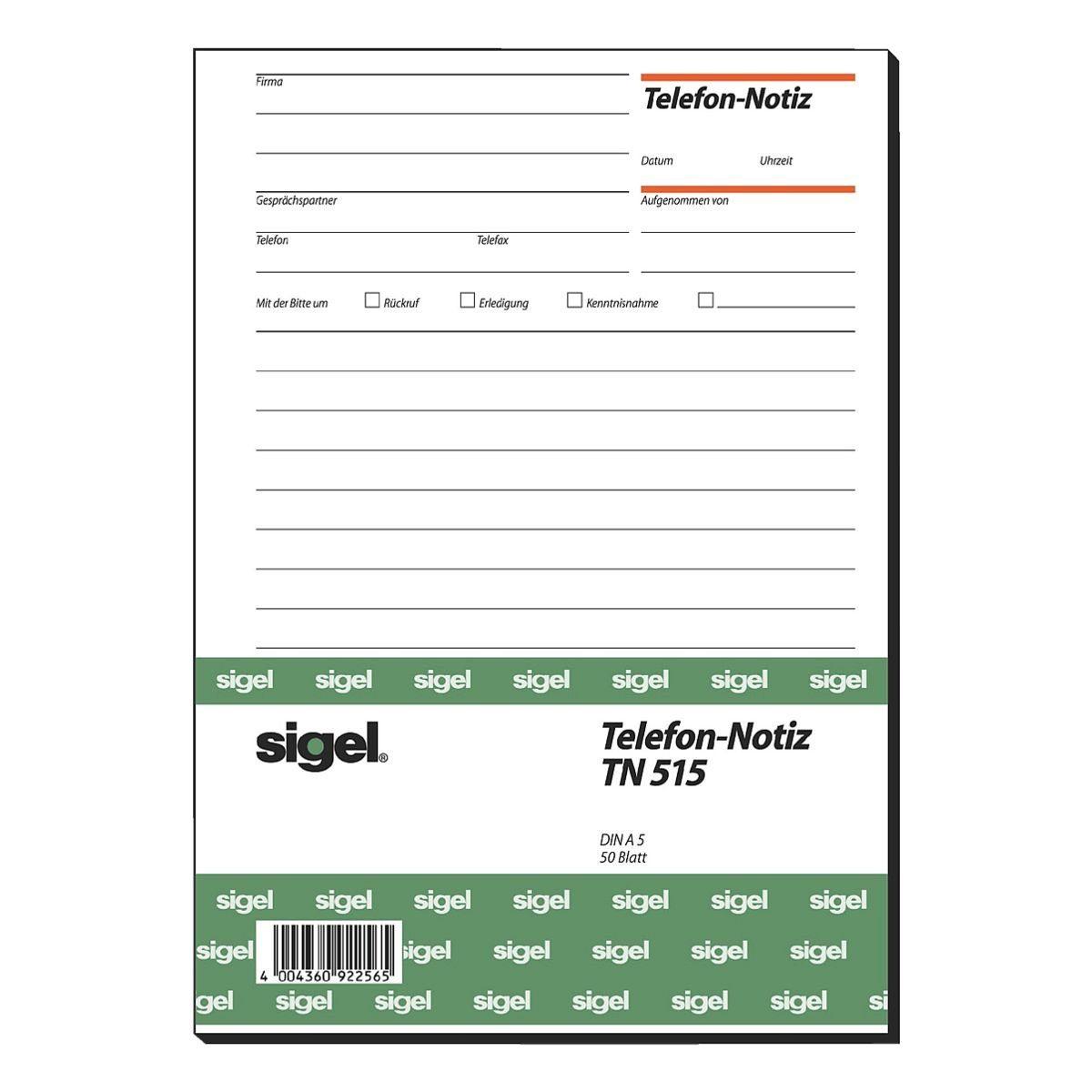 Sigel Formularvordrucke TN515 »Telefonnotiz«
