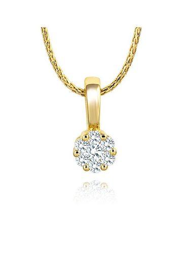 Diamond Line Gold-Kette mit Diamant-Anhänger