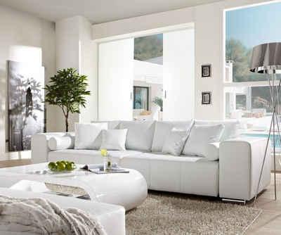 DELIFE Big-Sofa »Marbeya«, Weiss 290x110 cm mit Schlaffunktion Big-Sofa