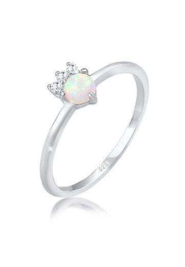 Elli Verlobungsring »Vintage Zirkonia Kristalle Opal Trend 925 Silber«
