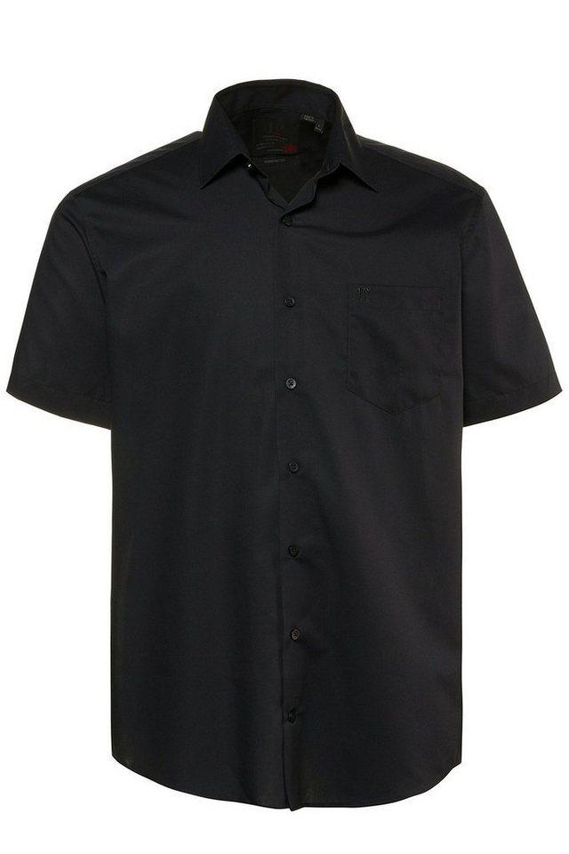 Herren JP1880 Kurzarmhemd bis 8XL Halbarm-Hemd Businesshemd Popeline-Gewebe bügelfrei Kent-Kragen Brusttasche schwarz | 04056089454940