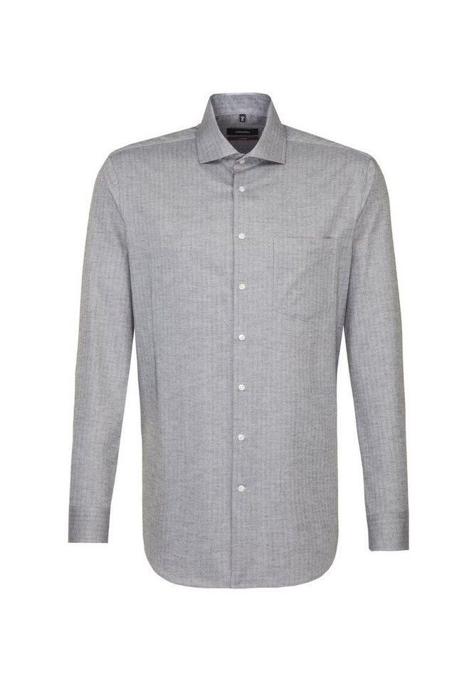 Herren seidensticker  Businesshemd Modern Modern Langarm Kent-Kragen Streifen grau | 04048869587047