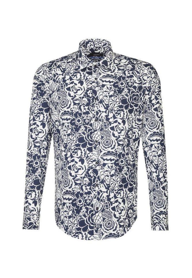 Herren seidensticker  Businesshemd Tailored Tailored Langarm Kent-Kragen Floraler Print blau | 04048869599675