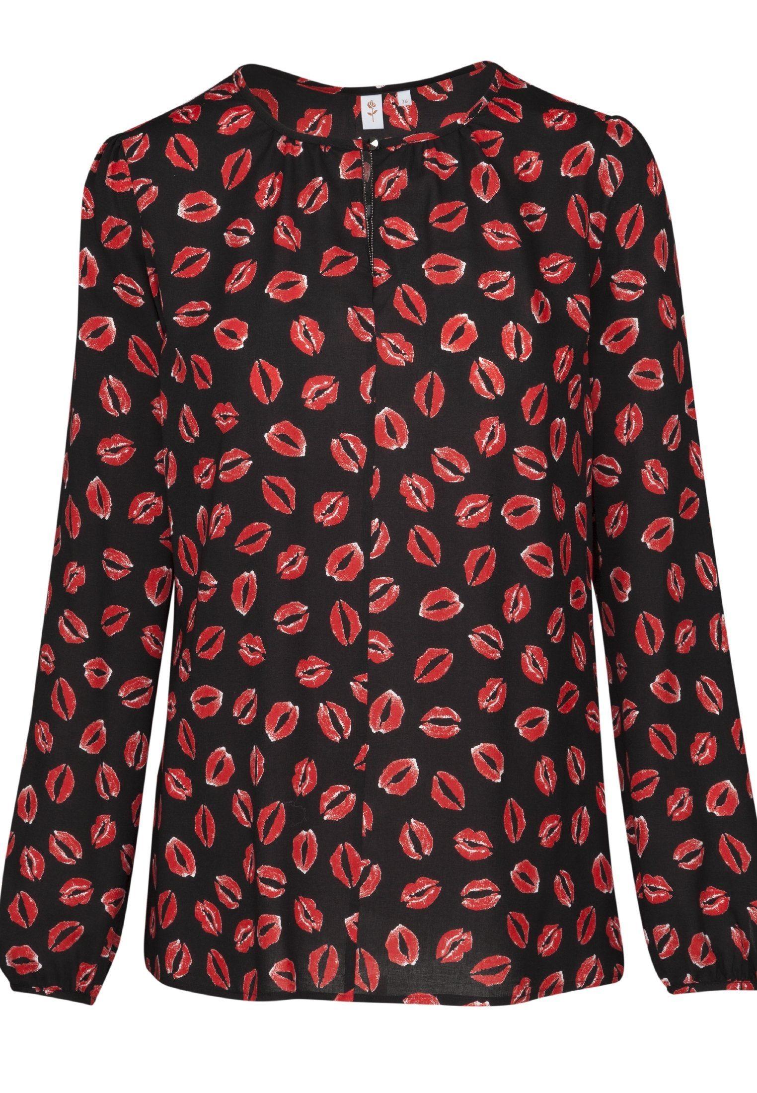 seidensticker Shirtbluse »Schwarze Rose« Langarm Rundhals Print