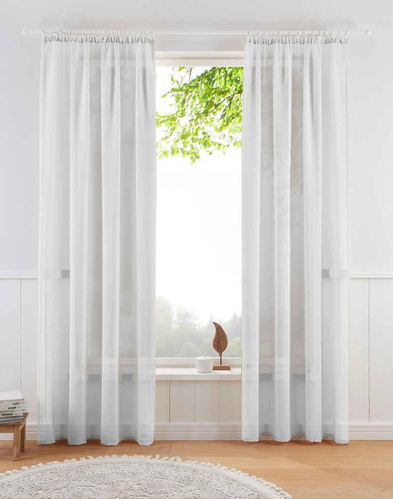 Gardine »TENDER«, Guido Maria Kretschmer Home&Living, Kräuselband (1 Stück), transparent, Leinen Optik mit Struktur, monochrom