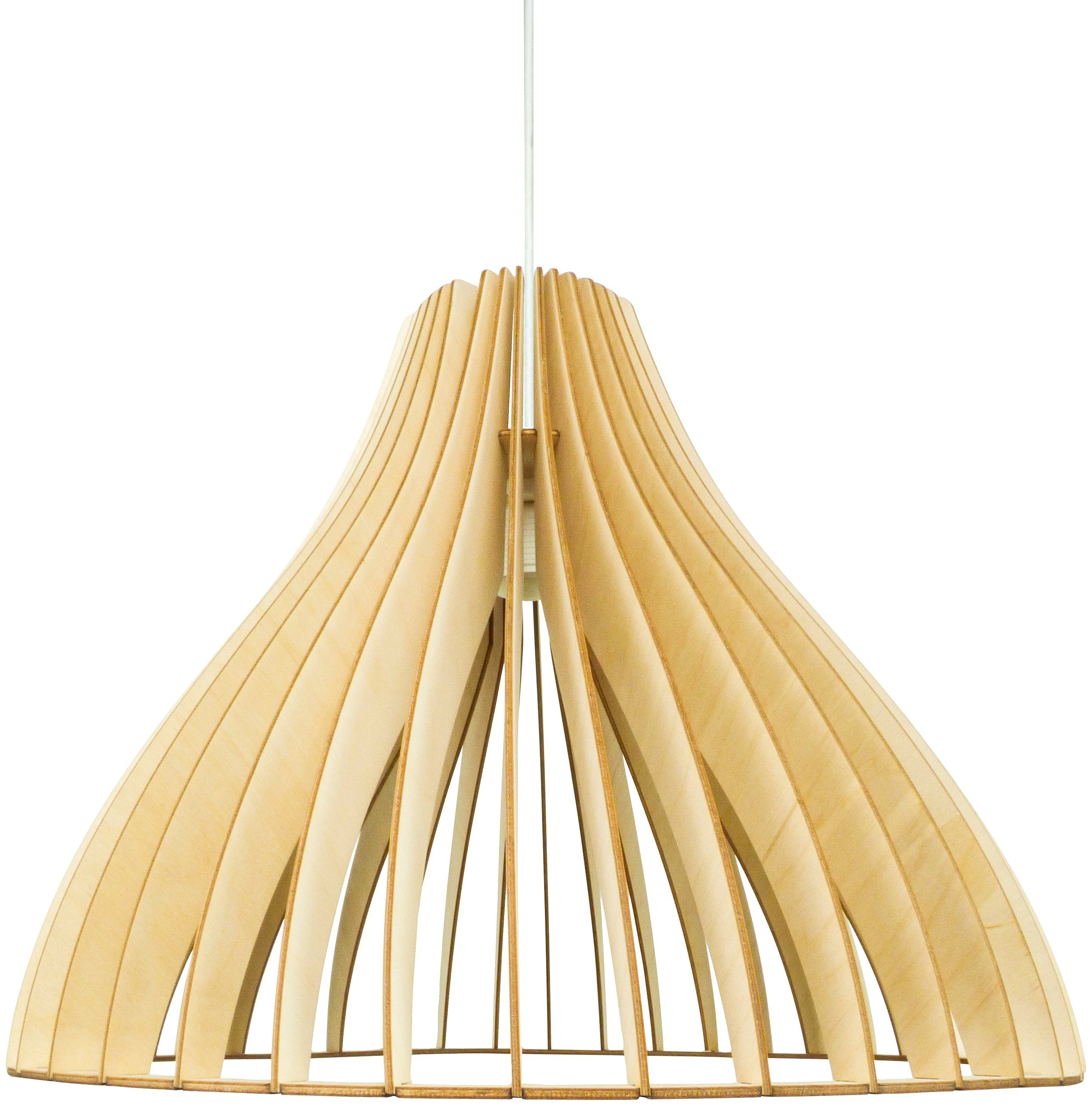 WODEWA Set: Pendelleuchte »Holzlampe Stella«, Natur, LED, 1-flammig, 47 x 47 cm