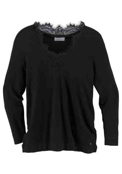 GMK Curvy Collection V-Ausschnitt-Pullover mit Spitzeneinsatz am Ausschnitt