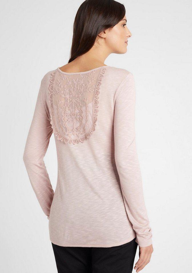 Damen Neun Monate  Umstandsshirt mit Spitzen-Detail im Rücken rosa | 08696798036240