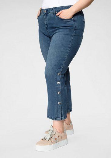 GMK Curvy Collection 7/8-Jeans in unifarbener Optik