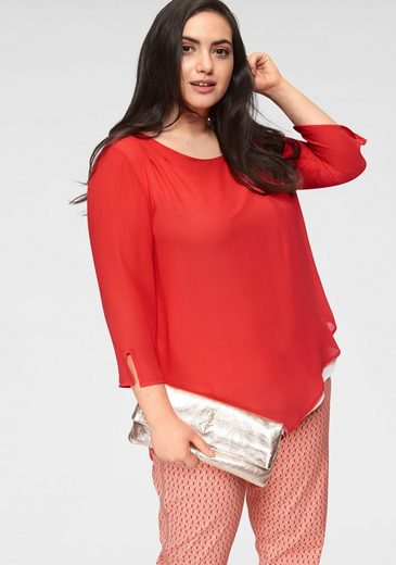 GMK Curvy Collection Shirtbluse mit 3/4-langen Ärmeln