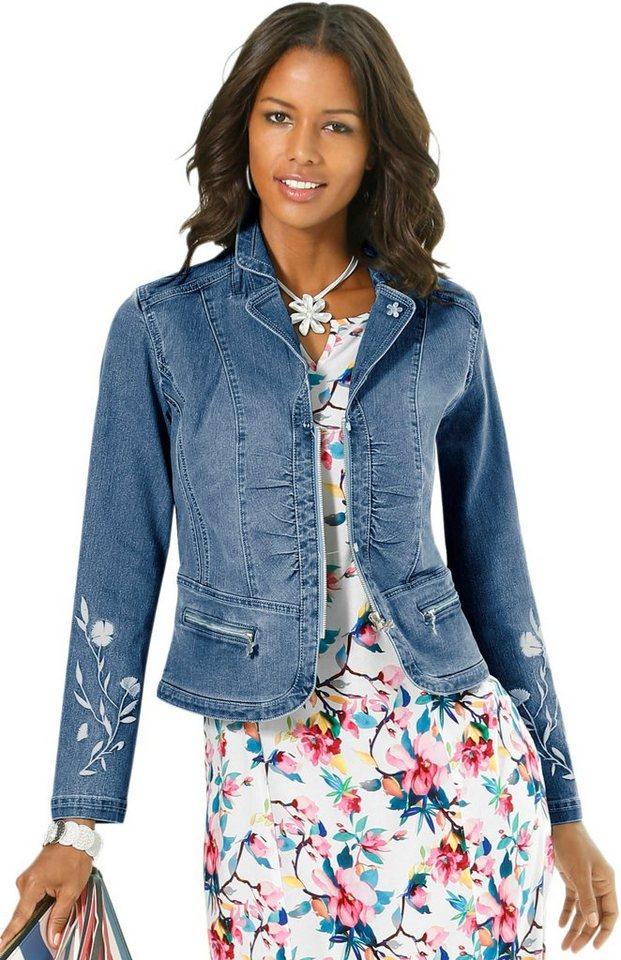 Alessa W. Jeansblazer mit femininer Blüten-Stickerei online kaufen ... ef04725b6d