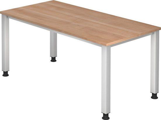 bümö Schreibtisch »OM2-QS16«, stufenlos höhenverstellbar - Rechteck: 160x80 cm - Dekor: Nussbaum, bümö® Premium Qualität