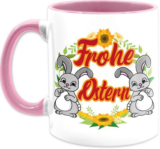 Shirtracer Tasse »Frohe Ostern Hasen - Tasse mit Spruch - Tasse zweifarbig«, Keramik