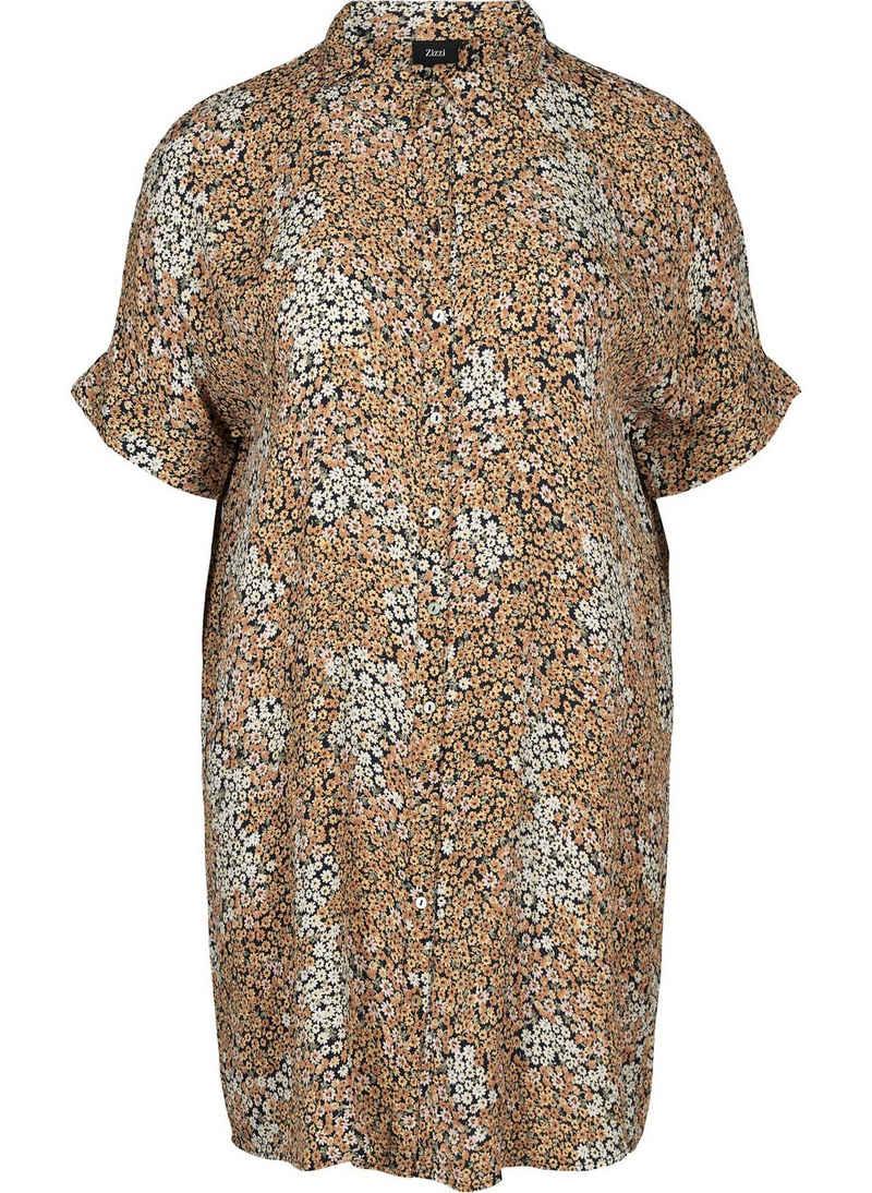 Zizzi Longshirt Große Größen Damen Lange Kurzarm Bluse mit Blumenprint