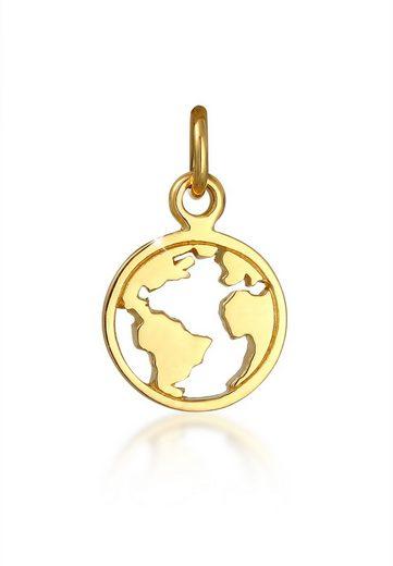 Elli Premium Kettenanhänger »Globus Weltkugel Reise Trend Basic 375 Gelbgold«