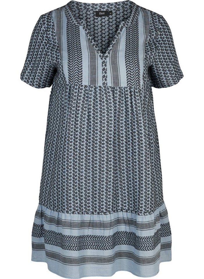 Zizzi Sommerkleid Große Größen Damen Kurzarm Kleid mit V ...
