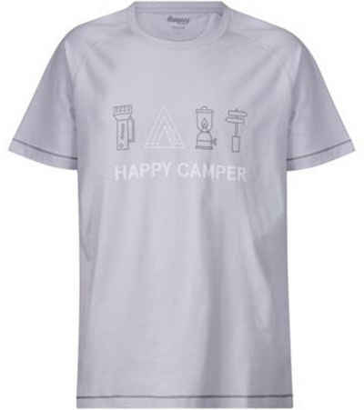 Bergans T-Shirt »Bergans Happy Camper T-Shirt fröhliches Herren Kurzarm-Shirt aus organischer Baumwolle Rundhals-Shirt Grau«
