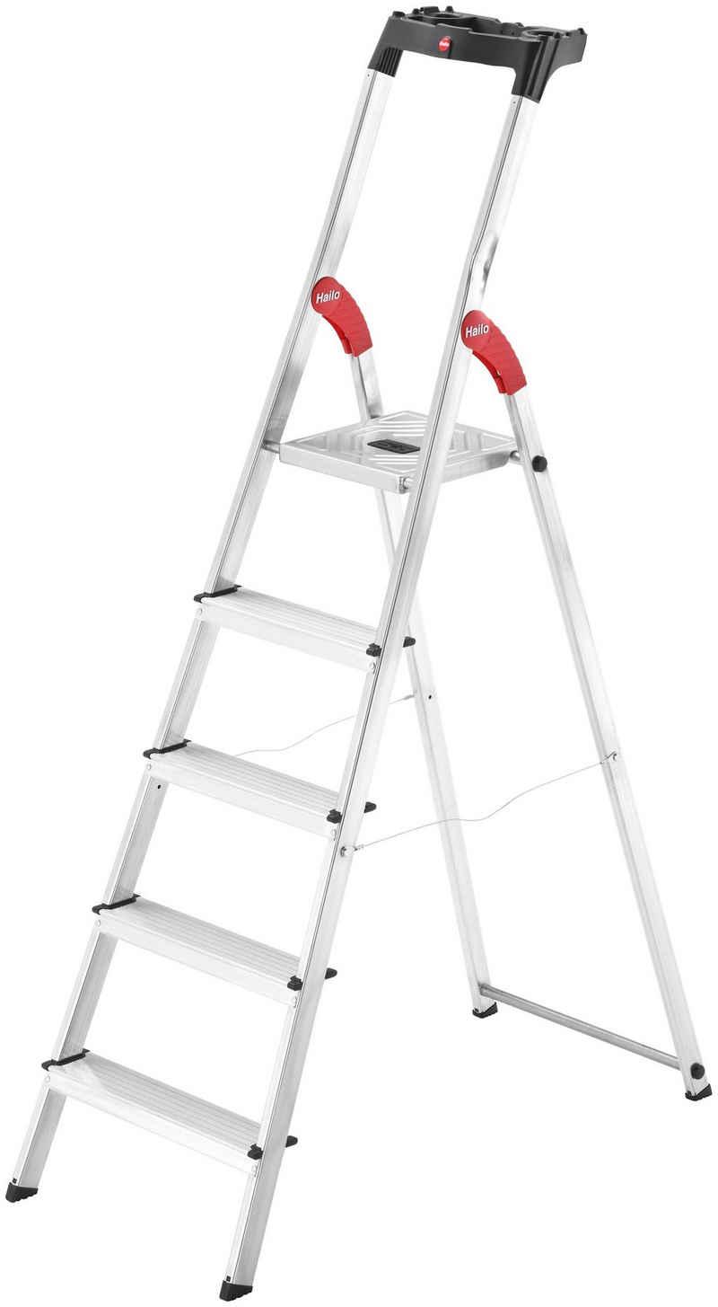 Hailo Stehleiter »L60 StandardLine«, Alu-Sicherheits-Stehleiter 5 Stufen