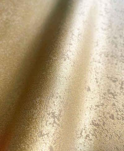 Newroom Vliestapete, Tapete, Uni, Beton, Gold Tapete Wohnzimmer Flur Wallpaper Vlies