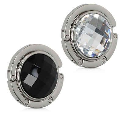 Klapphaken, kwmobile, 2x Tisch Handtaschenhalter Haken - Faltbare Antirutsch Taschenhaken Halterung Handtaschen Handtaschenhalter Diamant Design