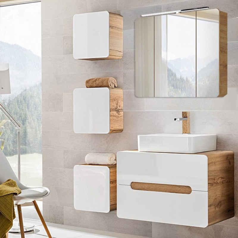 Lomadox Badmöbel-Set »LUTON-56«, (Spar-Set), Badezimmermöbel in Hochglanz weiß mit Wotaneiche mit LED-Spiegelschrank, B/H/T: ca. 130/200/46 cm