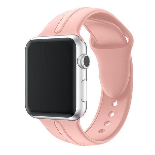 CoverKingz Smartwatch-Armband »Sportarmband für Apple Watch 45/44/42mm Silikon Armband Series 7/6/SE/5/4 Rosa«