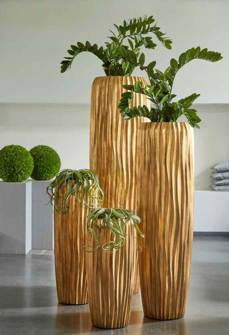 Flingora Bodenvase »Minga«, mit Einsatz - Fiberglas Pflanzvase - Indoor - Wellenstruktur Gold - Höhe 75 cm / Ø 34 cm