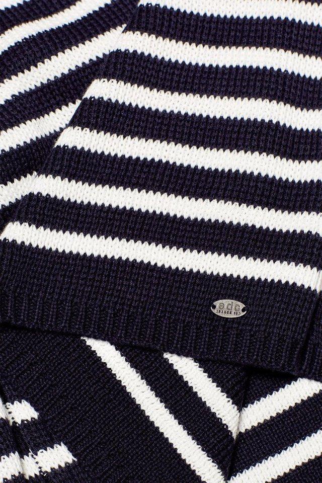 edc by Esprit Streifen-Pullover aus Grobstrick mit Zierknöpfen