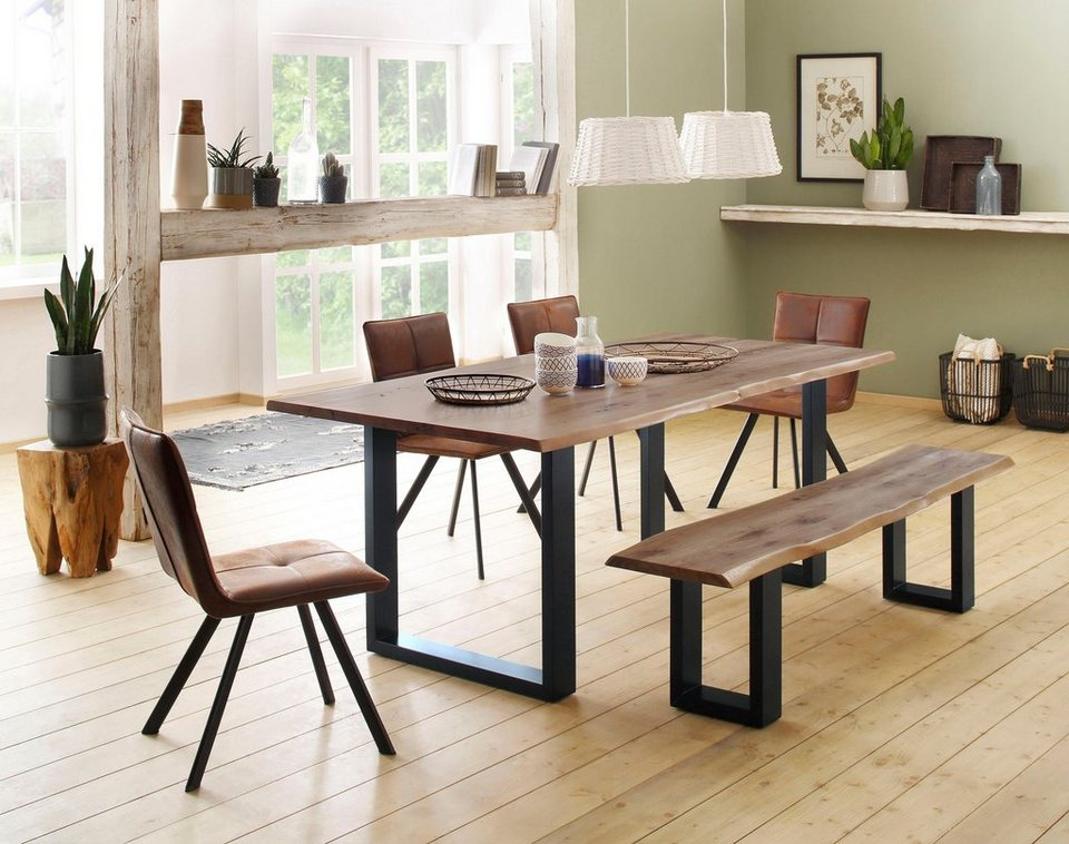 Home Affaire Tisch Lagos Bestehend Aus Dem Micala Esstisch Micala Bank Und 4 Parker Stühlen Online Kaufen Otto
