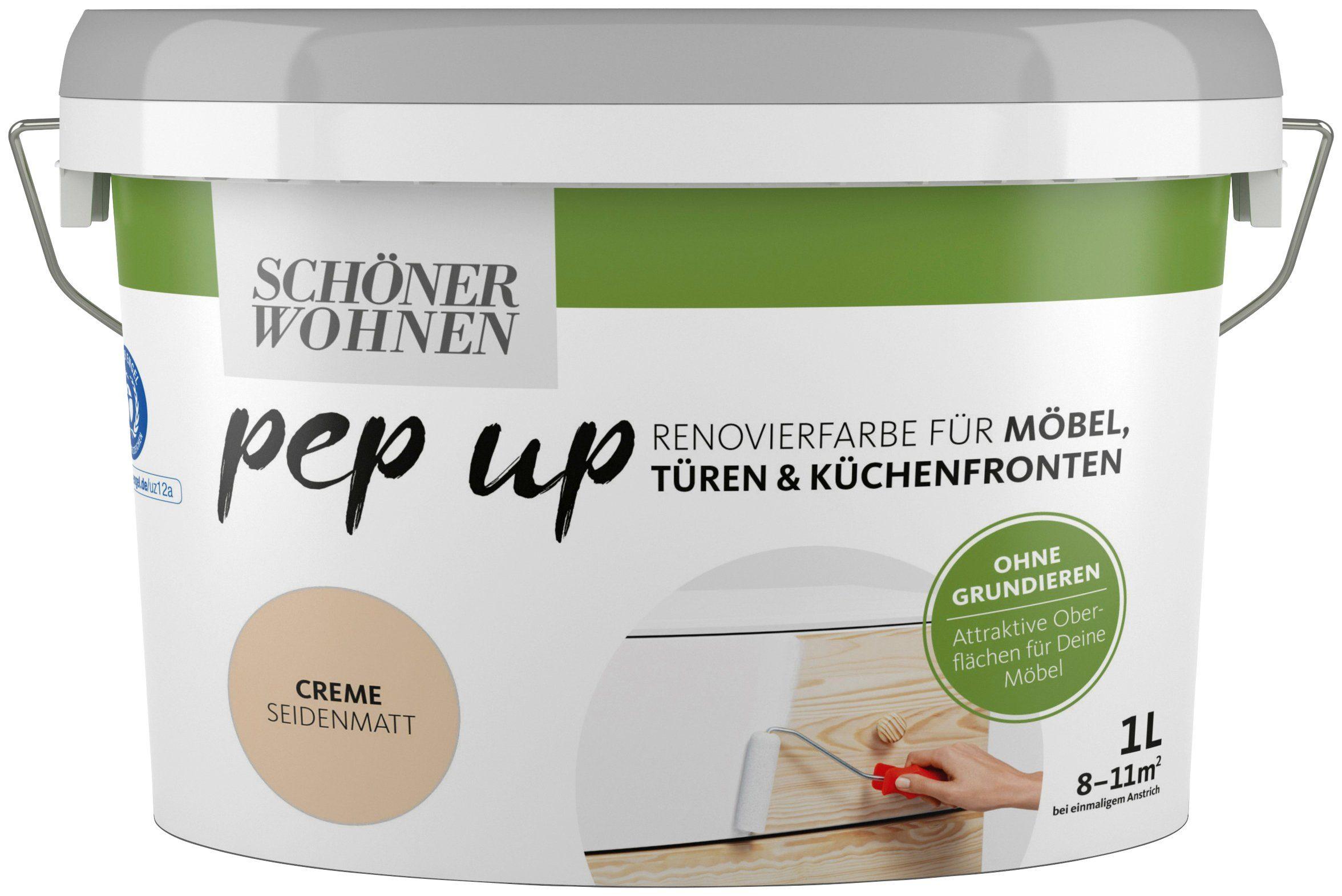SCHÖNER WOHNEN FARBE Renovierfarbe »pep up - creme«, seidenmatt, für Möbel, Türen und Küchenfronten, 1 l