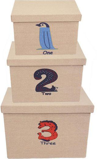 Franz Müller Flechtwaren Aufbewahrungsbox »Kids« (Set, 3 Stück), mit Deckel und Zahlenaufdruck