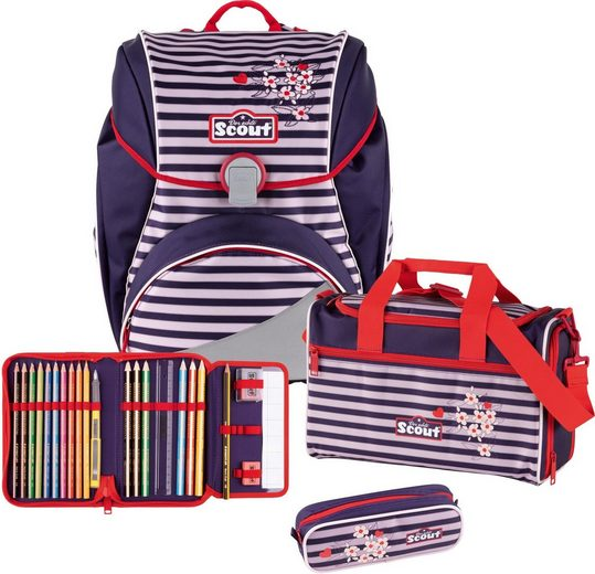Scout Schulranzen »Alpha, Happy Stripes« (Set)
