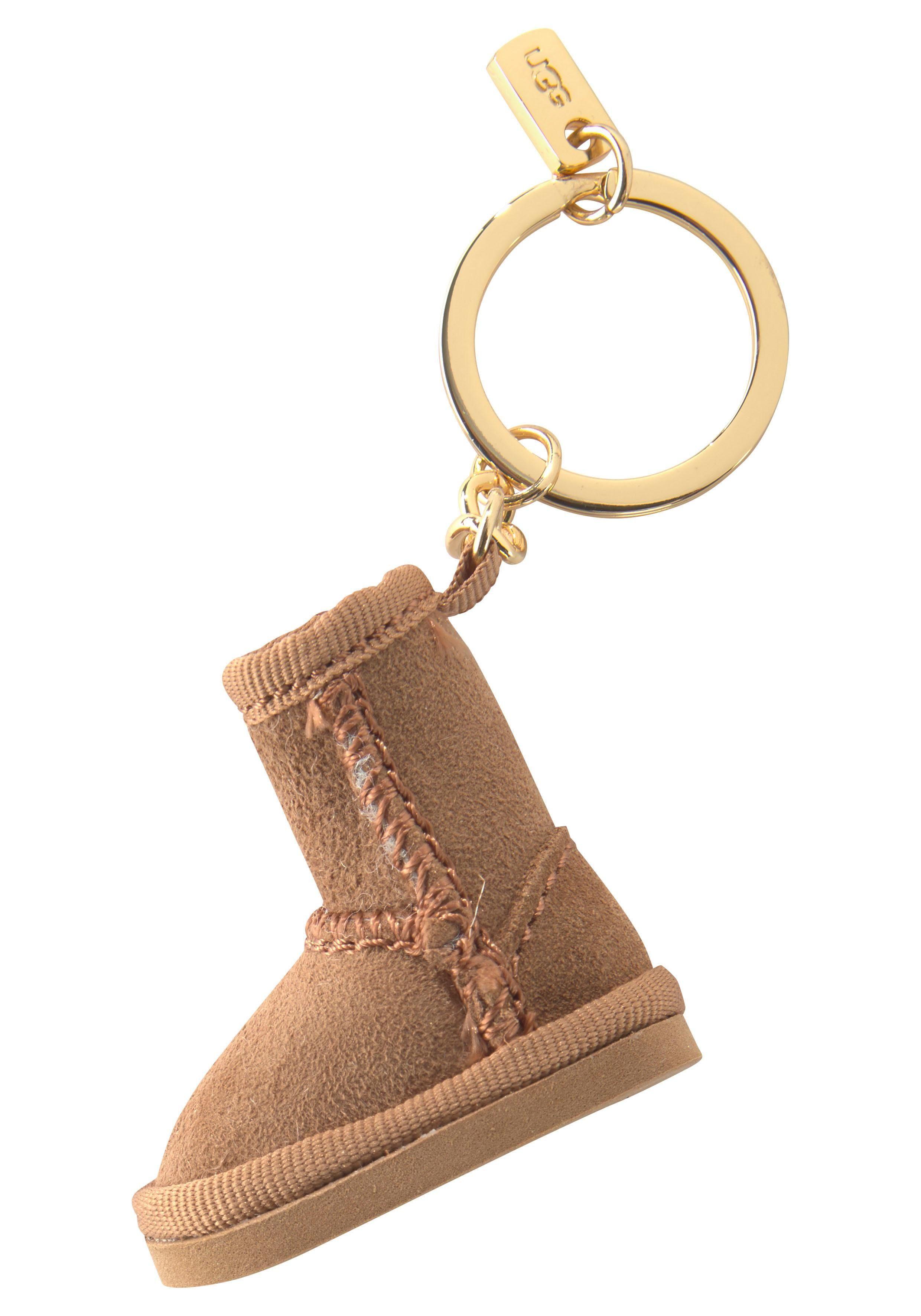 UGG ® BAILEY BOW BOOT CHARM Lammfell Schlüsselanhänger Key Schlüsselring Blau